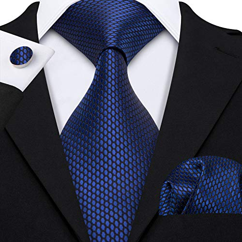 Barry.Wang Mens Ties Novelty Silk Tie Hanky Cufflinks Set Woven Designer Dark Blue