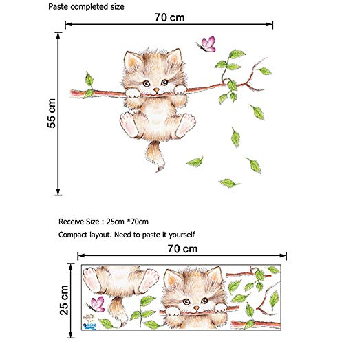 Animal Wall Stickers, Cute Cat Wall Self-Adhesive Decorative Decals, Used for Home Nursery, Classroom, Office Decoration 2