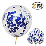 DIvine Blue Confetti Glitter Balloons Pack of 20, 12 Inch for Bridal Shower Decorations, Birthday Party Weddings, Valentines Day Christmas Party Decorations
