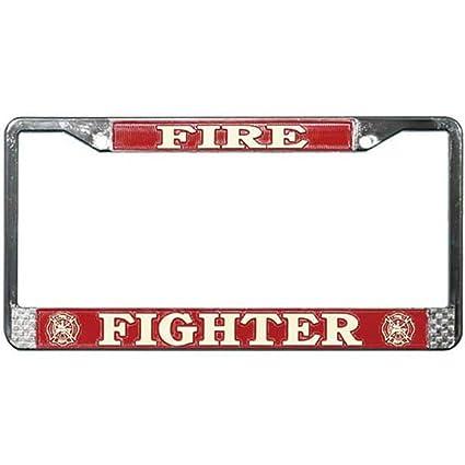Amazon.com: Firefighter Chrome License Plate Tag Frame: Automotive