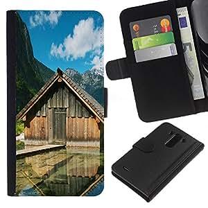 Lead-Star (Lake cabins) Colorida Impresión Funda Cuero Monedero Caja Bolsa Cubierta Caja Piel Card Slots Para LG G3 / D855 / D850 / D851