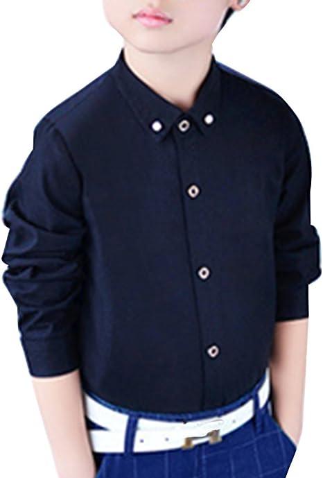 Camisa Manga Larga para Niños Formal Camisa Chico Fiesta Camisa Negro: Amazon.es: Deportes y aire libre