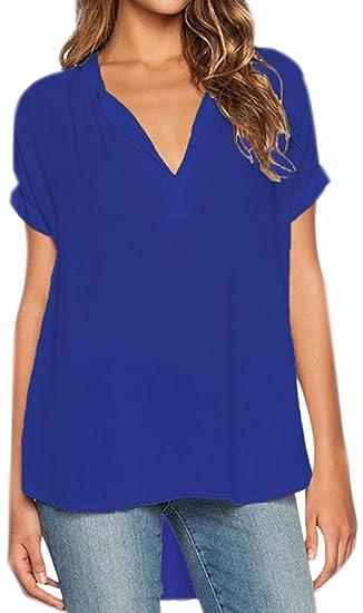 Fuxiang Blusas Mujer Gasa Camisetas Camisas Manga Corta Blusa Camisa Cuello V Shirt Casual Camiseta Top