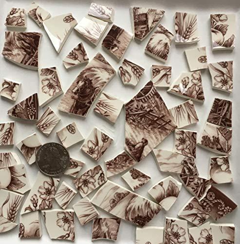 Mosaic Art & Craft Supply ~ Brown & White Transferware Tiles (T A424)