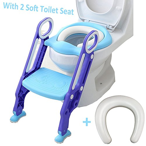 Adjustable Potty Training Seat,Toilet Training Seat with Non-Slip Step Stool Ladder for Toddlers,Kids and Baby,Potty Seat with Step,Toilet Seat Chair