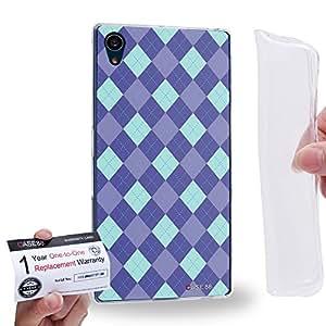 Case88 [Sony Xperia Z5] Gel TPU Carcasa/Funda & Tarjeta de garantía - Art Trend Mix Design Argyle Purple & Blue Combination 1228