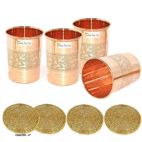Set of 4 - Prisha India Craft Copper Cup Water Tumbler - Handmade Water Glasses - Traveller's Copper Mug for Ayurveda Benefits - CHRISTMAS GIFT - India Craft