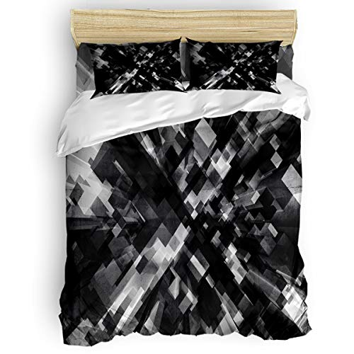 BABE MAPS 4 Piece Luxury Duvet Cover Bedding Sets Queen Three-Dimensional Space Breathable Bedroom Quilt Cover with Zipper Closure and 2 Pillow Shams -