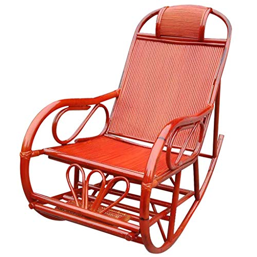 Chairs Rattan Bamboo Home Rocking Balcony Adult Lounge Adult Recliner Old Man Outdoor Lunch Break Rocking Folding (Bamboo Recliner Chair)