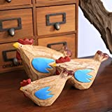 Bwlzsp 1 set (3) Wooden handicraft ornaments set three chicken ornaments creative gifts small animal home decorations LU714753