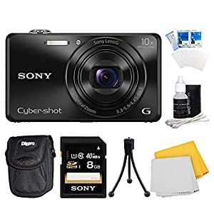 Sony DSC-WX220/B DSCWX220 WX220 WX220B DSC-WX220 Black Digital Camera Includes Camera, 8GB SDHC/SDXC Memory Card, Ultra-Compact Digital Camera Deluxe Carrying Case, Flexible Mini Table-top Tripod, 3 Pc. LCD Screen Protectors and More