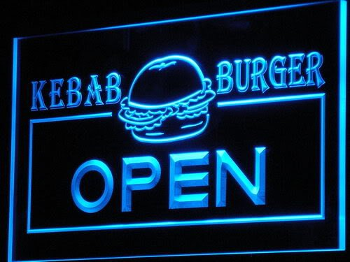 Cartel Luminoso ADV PRO i167-b OPEN Kebab Burger Cafe Fast ...