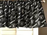 Zen Creative Designs 100% Cotton NFL Sports Team Oakland Raiders Black Multi-Print Window Valance Panel/Kids Nursery Window Treatment Decor (16'' Tall)