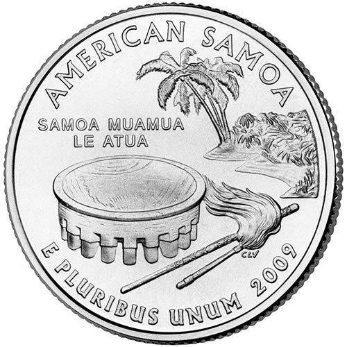 (2009 P & D Satin Finish American Samoa Territory Quarter Choice Uncirculated US Mint 2 Coin Set)