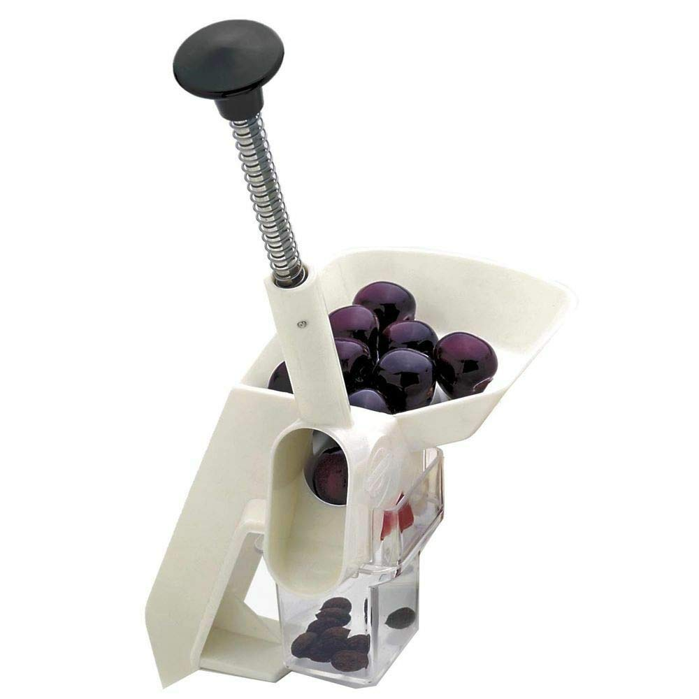 Akkapeary Cherry Pitter Stoner Automatic Feed For Canning Preserving 1.75'' 4.5cm. No mess or wasted fruit automatic feed tray and catch hopper canning freezing dehydrating and baking by Akkapeary