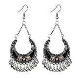 GrmeisLemc Women's Hook Earrings, Vintage Bohemian Semicircle Bells Tassel Dangle Hook Earrings Golden+White