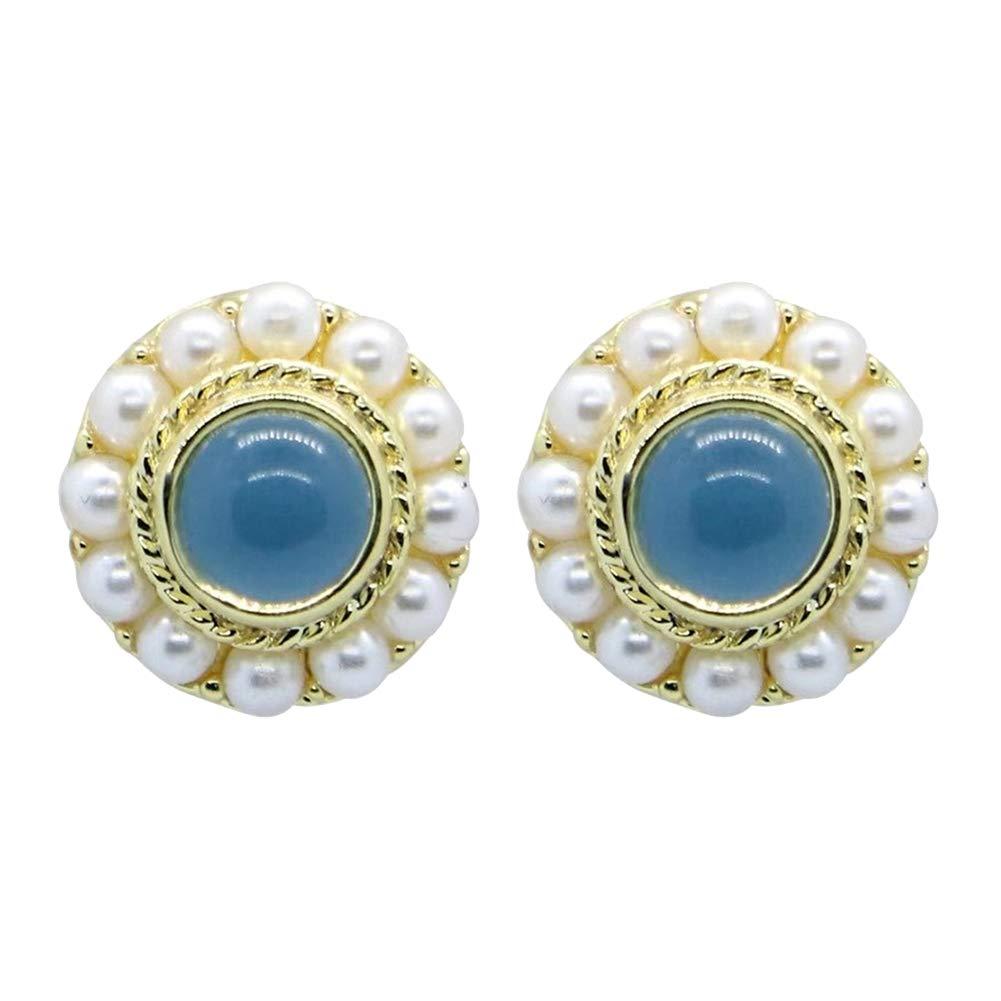 Lx10tqy Fashion Mini Rounds Faux Women Alloy Pearl Ear Stud Earrings Jewelry Gift Decor Blue