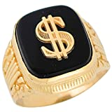 10k Yellow Gold Square Black Onyx Mens Hip Hop Money Dollar Sign Wide Ring