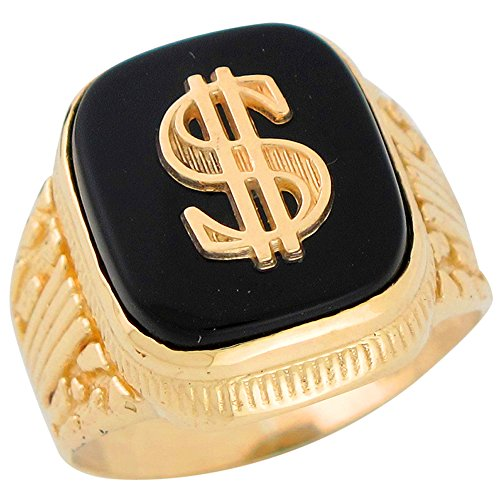 14k Yellow Gold Square Black Onyx Mens Hip Hop Money Dollar Sign Wide Ring by Jewelry Liquidation