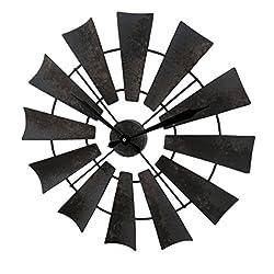 Metal Wall Clocks Rustic Distressed Metal Windmill Wall Clock 22 Inch - 22 X 22 X 1 Inches - Brown - Style # 33691