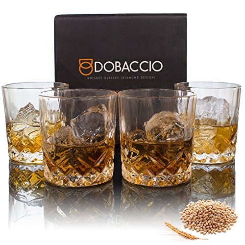 Dobaccio Whiskey Glasses - Classic Crystal Clear Glass Drinking Cups - Set of 4