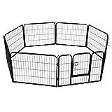PawHut 8 Panel Heavy Duty Indoor Outdoor Pet Playpen Exercise Pen Black (24inch - Height)