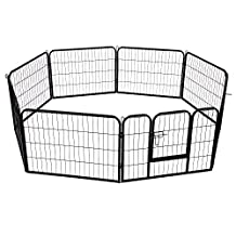 PawHut 8 Panel Heavy Duty Indoor Outdoor Pet Playpen Exercise Pen Black (24inch - Height)