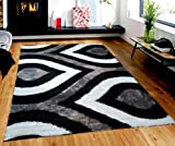 Gloria Rug Super Soft Indoor Modern Shag Rug Silky Smooth Rugs Fluffy Shaggy Area Rug – Stain Resistant Dining Room Home Bedroom Living Room Carpet (8 x 10, Black Gray Rain Drop Design 1021) Review