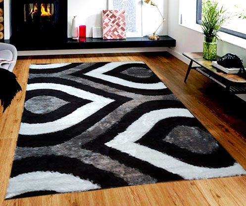 Black Rain Rug (GLORIA RUG Super Soft Indoor Modern Shag Rug Silky Smooth Rugs Fluffy Shaggy Area Rug - Stain Resistant Dining Room Home Bedroom Living Room Carpet (5 x 7, Black Gray Rain Drop Design 1021))