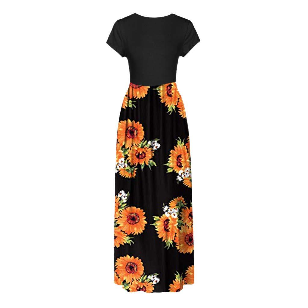 Women Maxi Tank Long Dress, Lady Summer Casual Crew Neck Short Sleeve Sunflower Print Beach Sundress with Pockets (XX-Large, Black) by LANTOVI Women Dress (Image #2)