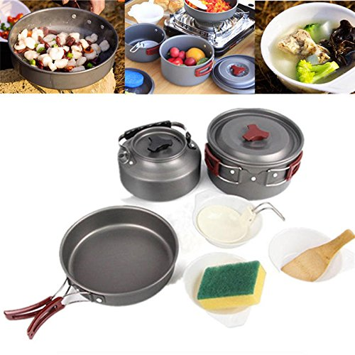 Outing Cooking Utensil Put - Portable Camping Picnic Flatware Set Nonstick Lightweight Pot Pan Teapot Hiking - Cinch Lay Snap Primed Duck Soup Dictated Walkover Ready Hard Hardening - 1PCs