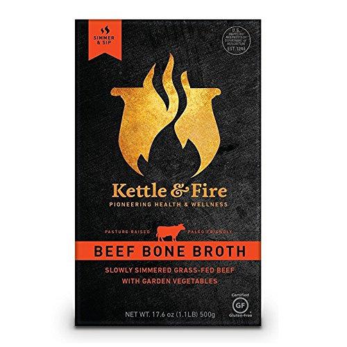 Beef Bone Broth by Kettle & Fire - 100% Grass-fed, Organic, Collagen-rich Beef Bone Broth, 16.9 Ounce, 4-Pack