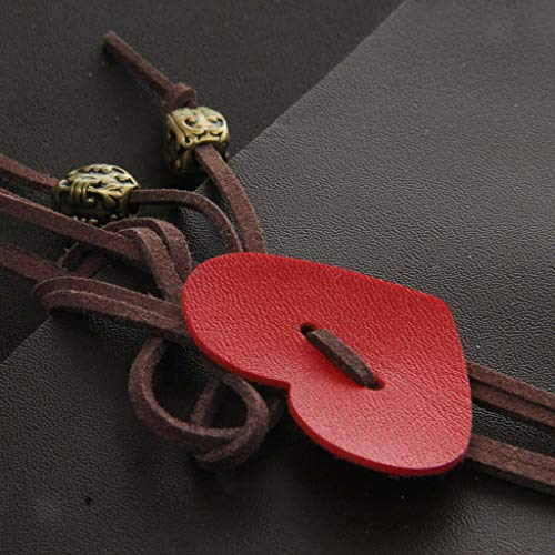 Vintage DIY Photo Album Leather Travel Polaroid Album Scrapbook Album Heart Lock |Color style - Brown heart| -