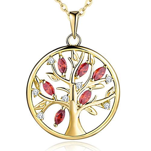 YL Women's Tree Life Necklace Sterling Silver Gemstone Garnet Family Pendant 14K Yellow Gold Plated Round Jewelry