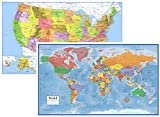 24x36 World and USA Classic Premier 3D Two Wall Map Set (Paper Folded)