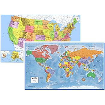 Amazoncom Universal Map 12489 40 x 28 Inch Us And World Paper