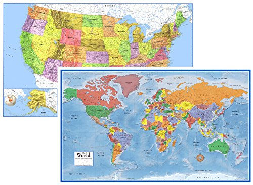 24x36 World and USA Classic Premier 3D Two Wall Map Set (Paper Folded) by Swiftmaps