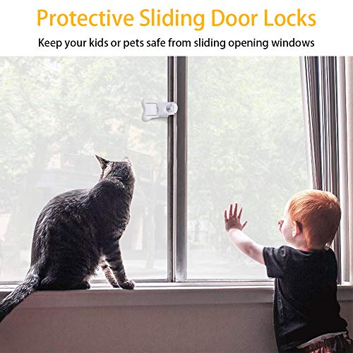 Sliding Door Lock, QYUKUYU Baby Safety Childproof Locks for Closets, Window,Doors, Shutters & More, No Tools Needed (4 Pack, White) by QYUKUYU (Image #4)