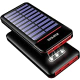 Solar Charger Power Bank 25000mAh Portable Charger Battery Pack with Three Outputs&Dual Inputs Huge Capacity Backup Battery Compatible Smartphone,Tablet and More