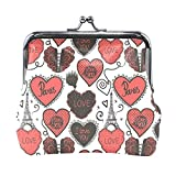 Coin Purses Eiffel Tower Love Heart Kiss-lock Buckle Vintage Clutch Cosmetic Bags