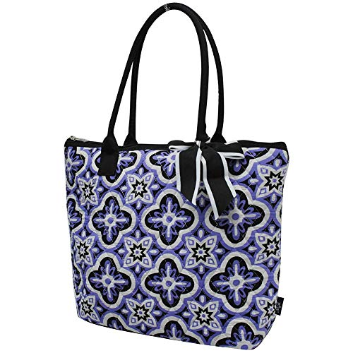 (Ngil Quilted Cotton Medium Tote Bag 2018 Spring Collection (Quatrefoil Paradise Black))