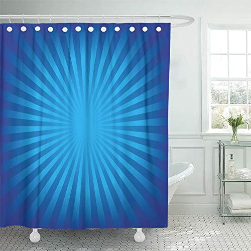 Emvency Shower Curtain Waterproof Adjustable Polyester Fabric Blue Starburst Radial Stripes Shiny Bright Sun White Abstract Beam 72 x 72 Inches Set with Hooks for Bathroom (Ring Adjustable Starburst)