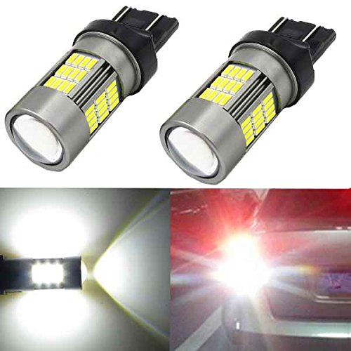 Alla Lighting 54-SMD 7443 7440 T20 Newest Version High Power 4014 Chipsets 6000K Xenon White Xtremely Super Bright Rear Brake Tail Light LED Bulbs Replacement