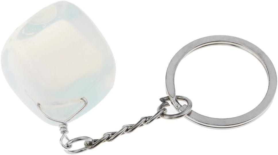 non-brand Anillo Llavero Precioso de Piedra de Cristal Natural Colgante de Bolsa Llave Diseño Vintage Decoraciones para Hogar Coche - Ópalo