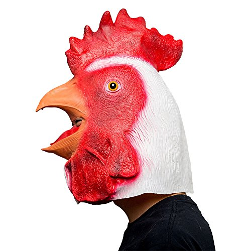 SUPERCOS Rooster Latex Animal Halloween Head Masks Red Cock Full Face Mask Adult -