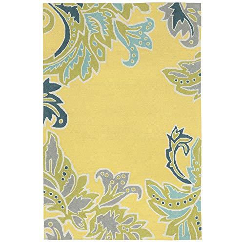 Rug Transitional Leaves - Liora Manne Ravella Ornamental Leaf Bdr Indoor/Outdoor Rug Yellow 42