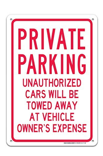 Miles2345 Private Parking Unauthorised Cars Towed Away Sign Large 10X14 Rust Free Aluminum Sign UV Printed with Professional Graphics Easy to Mount Indoors /& Outdoors