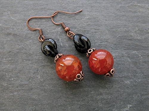 Black Onyx Red Fire Agate Drop Earrings Gemstone Beaded Dangle Large Stone