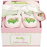 Baby Aspen, Tillie the Turtle Four-Piece Bathtime Gift Set, Pink, 0-6 Months