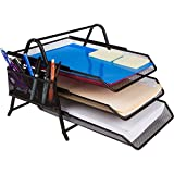 2 Trays Printer - Home Decor 10.4x8.3x6.1-Inch 3 Tier Letter Tray with Pen Holder - Black